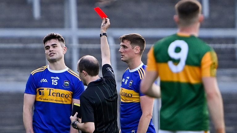 Michael Quinlivan is shown a red card