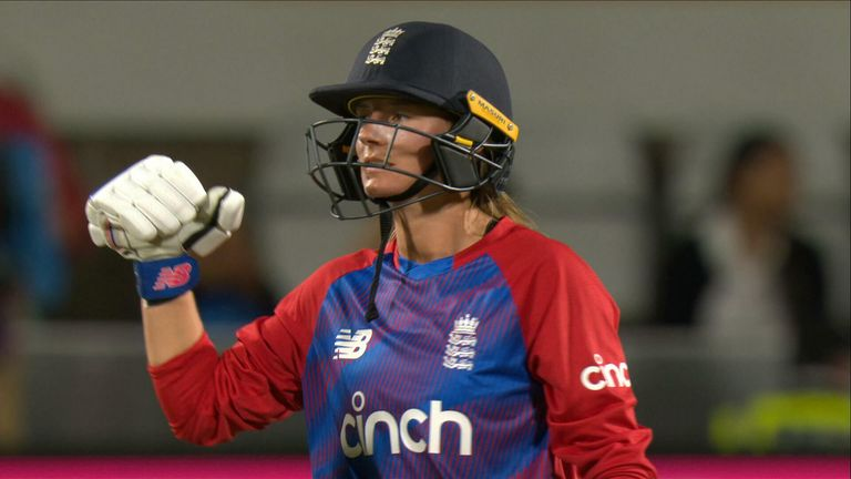 Danni Wyatt hits a beautiful six to cap a brilliant 89 not out for England against India in the third T20I