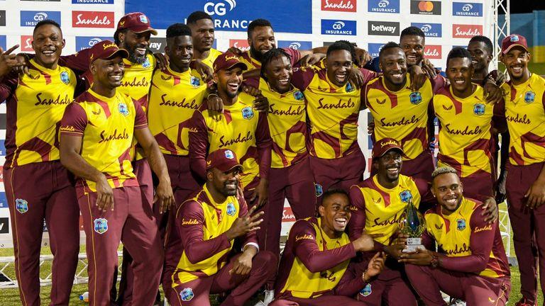 West Indies celebrate their 4-1 T20 international series win over Australia