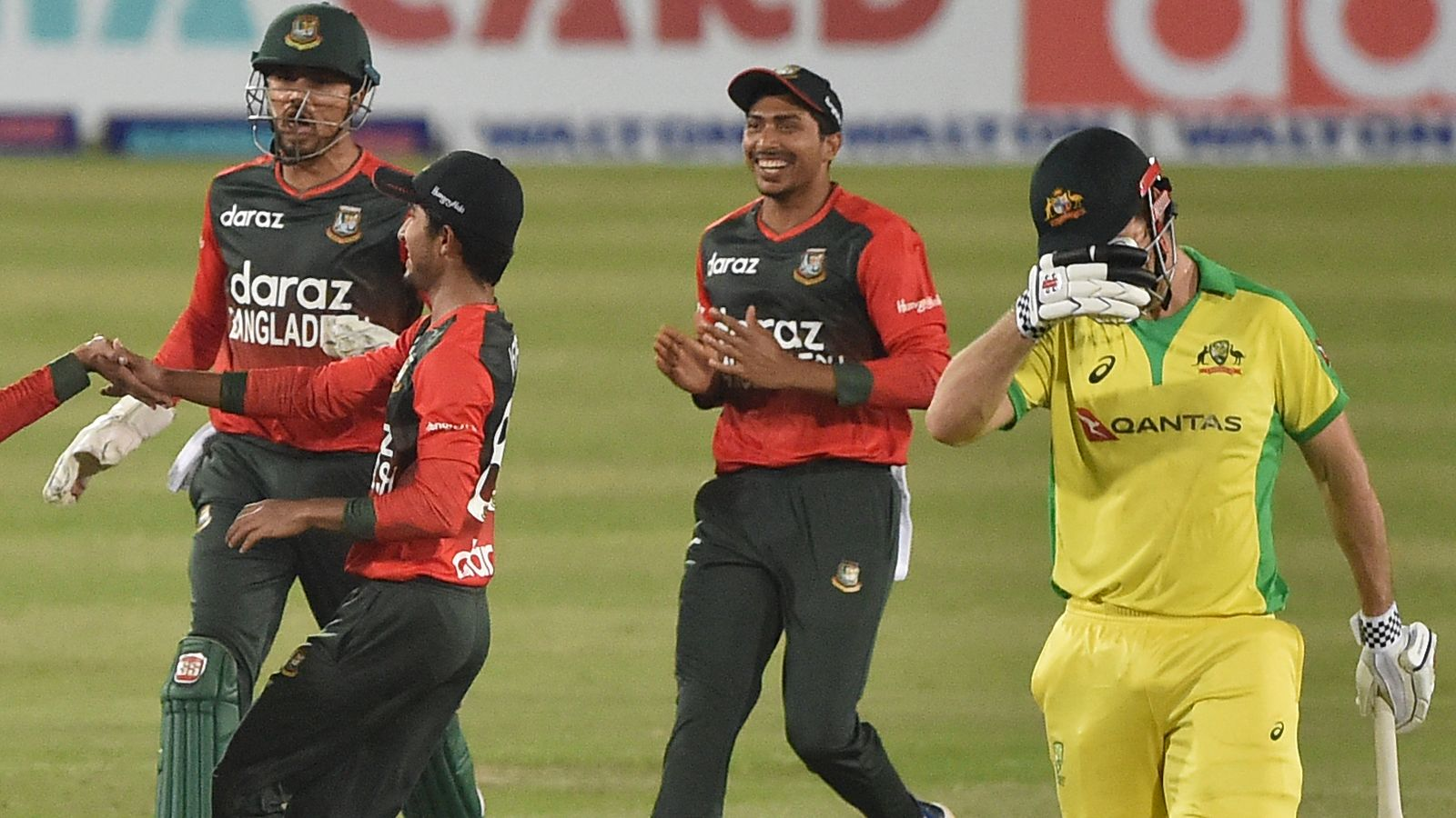 Bangladesh claim first T20 win over Australia as spinner Nasum Ahmed takes four wickets