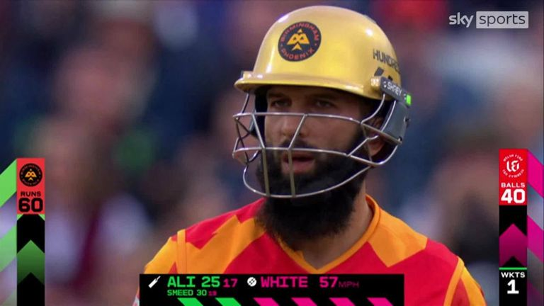 Moeen Ali hit five massive sixes during his innings of 59 against the Welsh Fire.