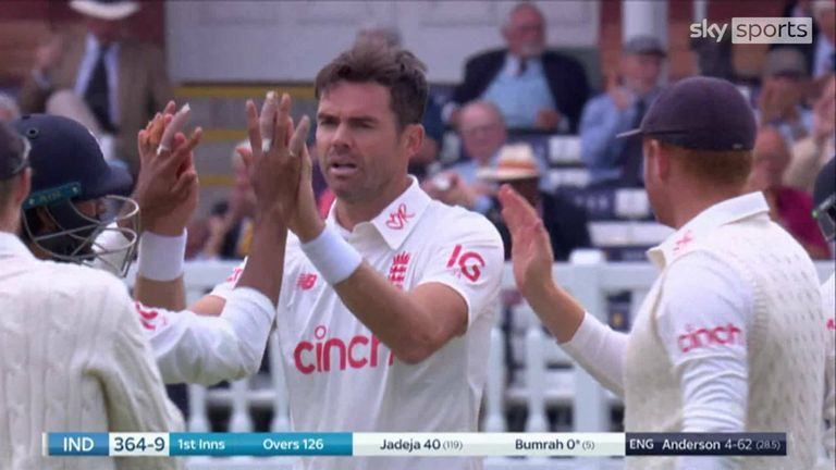 James Anderson had Jasprit Bumrah caught behind as the 39-year-old picked up another five-wicket haul on day two of the second Test