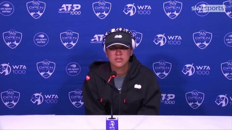 Naomi Osaka needed a couple of minutes to compose herself before returning to her press conference at the Western & Southern Open (Pictures: ESPN)