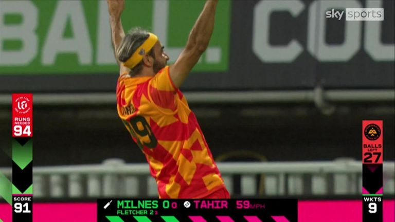 Imran Tahir won the game for Birmingham Phoenix in some style, grabbing a hat-trick off the last ball - the first in the Hundred
