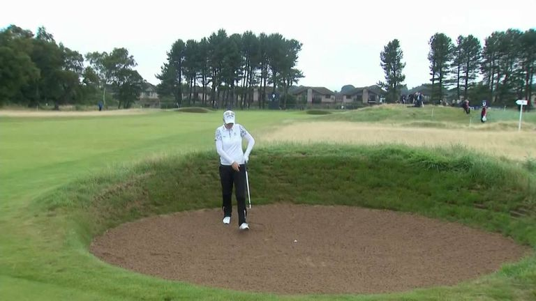 Madelene Sagstrom had a tough enough shot to escape a fairway bunker during day three of the AIG Women's Open, and an ill-timed blast from a passing train had inevitable results!