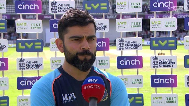 Michael Atherton speaks to India captain Virat Kohli as his side lose the third Test at Headingley