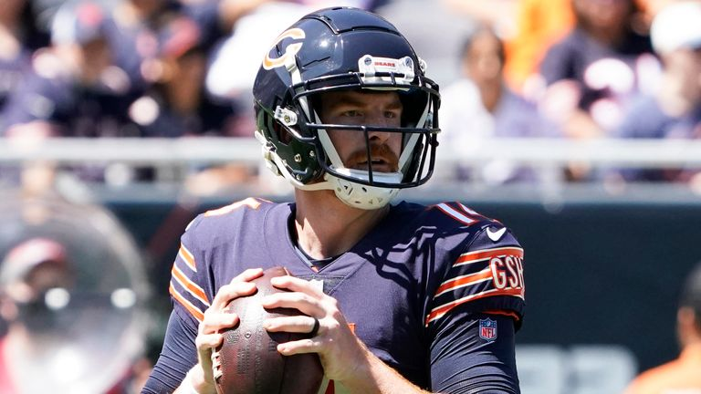 Chicago Bears quarterback Andy Dalton in action against the Miami Dolphins during pre-season