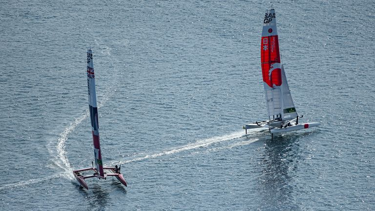 The British and Japanese teams exchanged words during the final (Image credit - Jonathon Nackstrand for SailGP)