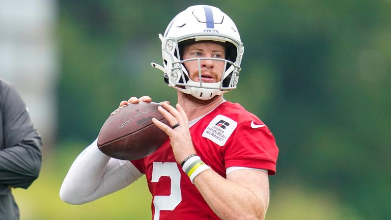 Quarterback Carson Wentz has a new home in Indianapolis but looks set to miss the opening game of the season