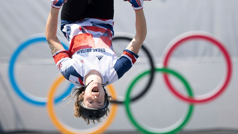 Charlotte Worthington flips in mid-air during the BMX freestyle competition