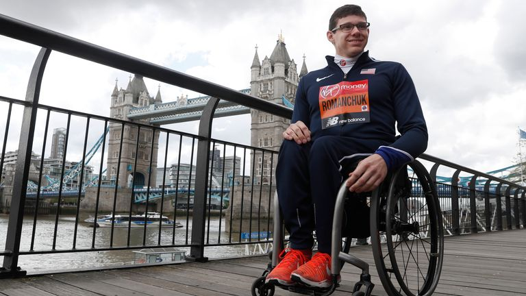 Romanchuk of the United States poses for the cameras during a photocall for the London Marathon in 2019