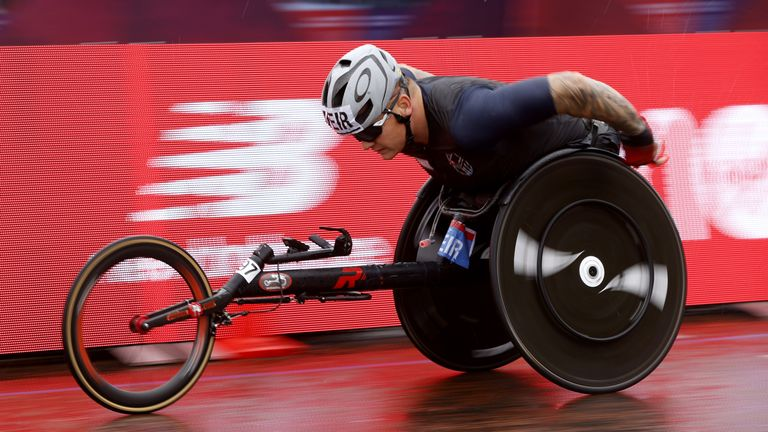 David Weir, who was born with a spinal cord transection that left him unable to use his legs, is one of Britain's most prominent Paralympians