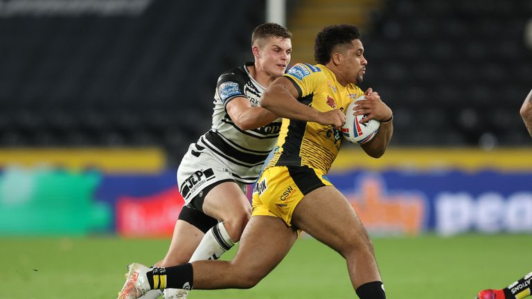 Derrell Olpherts looks to get past  Hull FC's Cameron Scott
