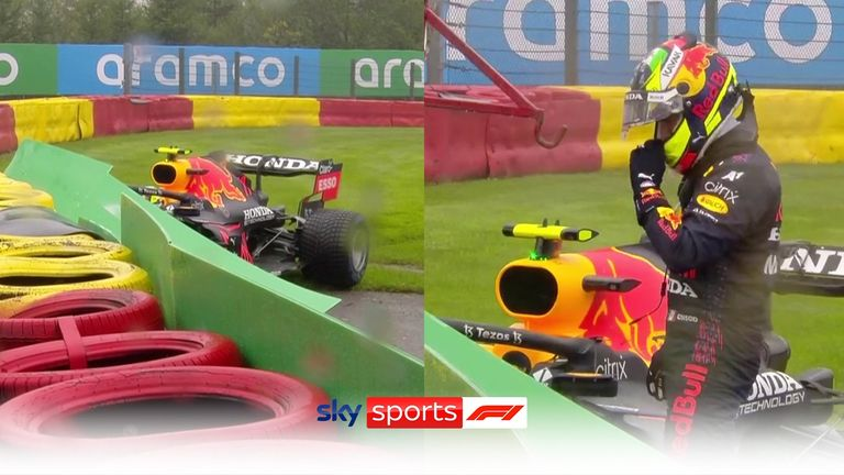 Sergio Perez crashed on his way to the grid at the Belgian GP.