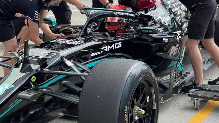 George Russell was testing the 2022-spec tyres for Mercedes on Tuesday (Credit: Pirelli Motorsport)