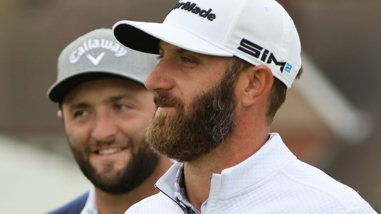 Jon Rahm (left) and Dustin Johnson (right) currently occupy the top two positions in golf's world rankings