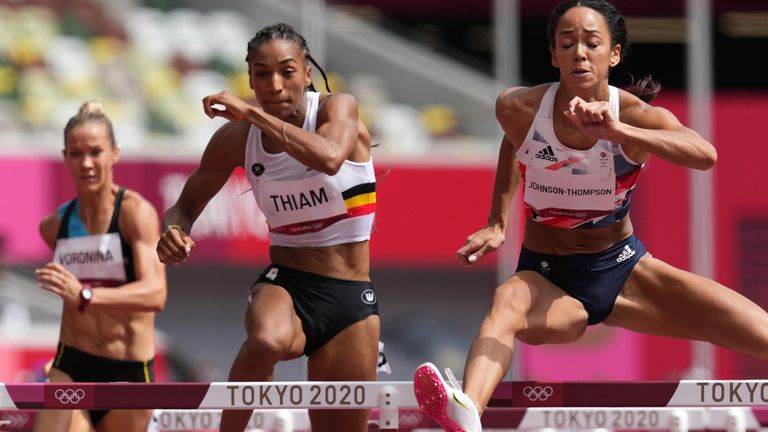 Johnson-Thompson (R) finished first in her 100m hurdles heat at the start of the day