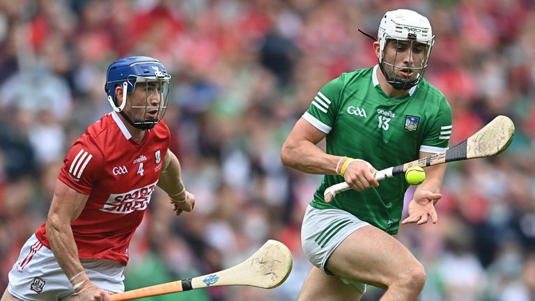 Aaron Gillane of Limerick in action against Seán O'Donoghue of Cork during the All-Ireland final
