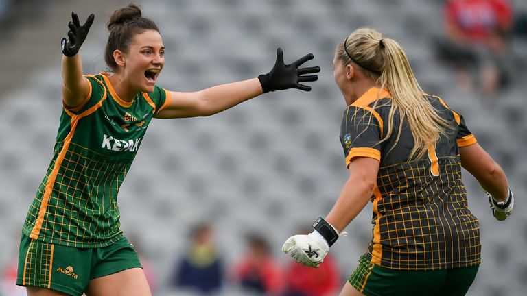 Meath's Máire O'Shaughnessy and Monica McGuirk at full-time
