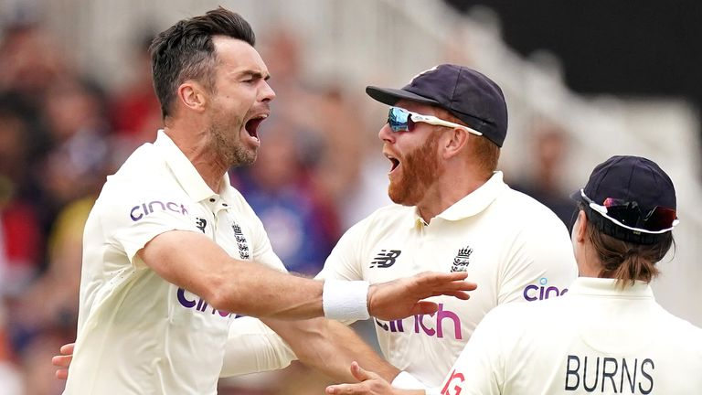 James Anderson dismissed Virat Kohli first ball as England fought back against India on day two
