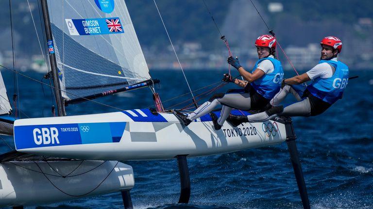 John Gimson and Anna Burnet won silver in themixed Nacra 17