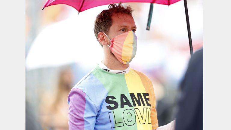 Aston Martin F1's Sebastian Vettel wore his rainbow T-shirt and mask on Hungarian GP race day earlier this month