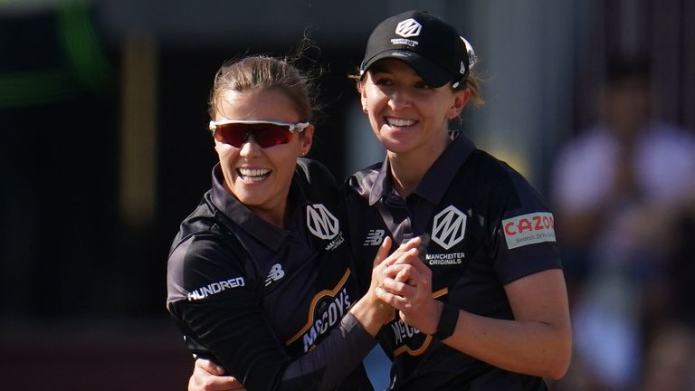 Manchester Originals captain Kate Cross (right) celebrates a wicket with Alex Hartley in The Hundred