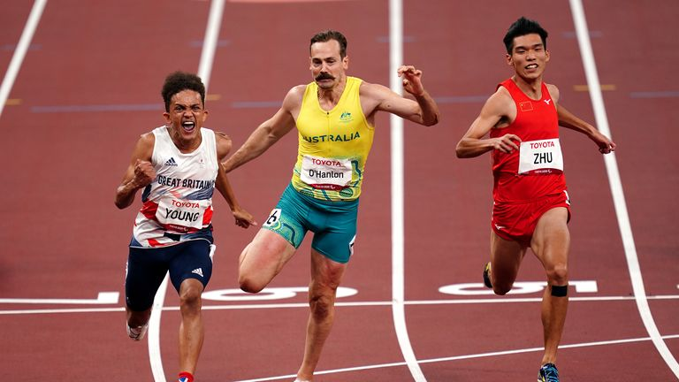 Thomas Young let his emotions out as he crossed the line first