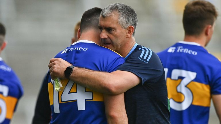 Liam Sheedy consoles John O'Dwyer at full-time