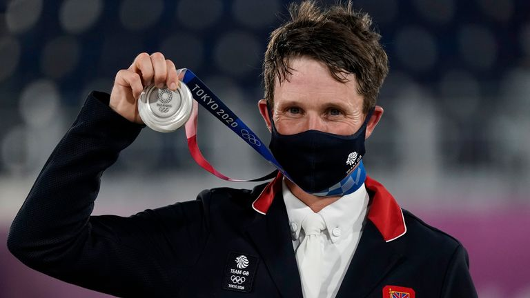 Tom McEwen with silver medal won in the individual three-day event at Tokyo 2020