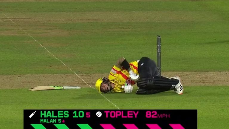 Poor Alex Hales gets struck in the groin twice in consecutive deliveries from Reece Topley during Trent Rockets' clash with Oval Invincibles.