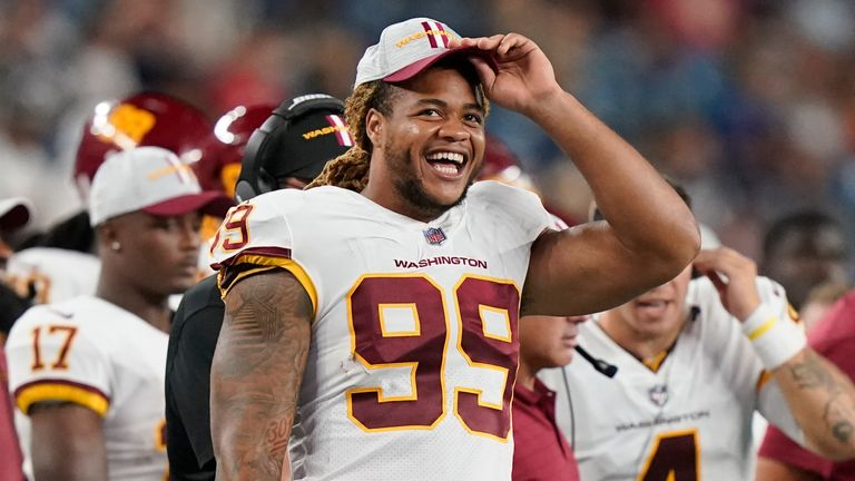 Chase Young had 42 tackles, 7.5 sacks, four forced fumbles, three fumble recoveries including one that went for a touchdown, and four pass defenses in his rookie year. (AP)