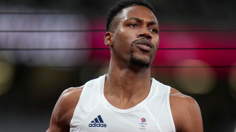 Zharnel Hughes false started in the 100m final after struggling with cramps