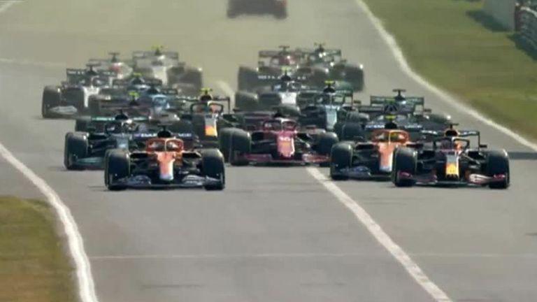 McLaren's Daniel Ricciardo overtakes Red Bull's Max Verstappen to take the lead of the race at the Italian GP.