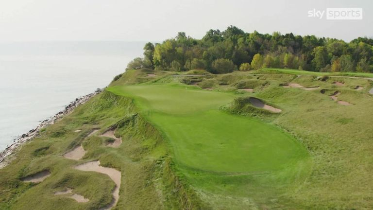 Luke Donald and Jim 'Bones' Mackay take a look at the penultimate hole of the Whistling Straits layout