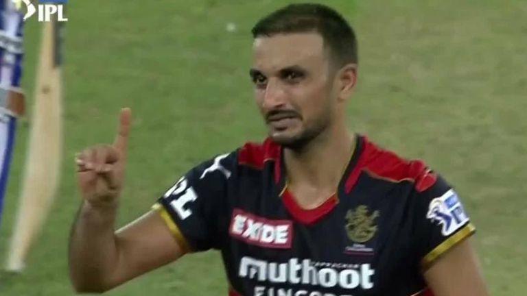 Royal Challengers Bangalore bowler Harshal Patel took an IPL hat-trick as he dismissed Mumbai Indians' Hardik Pandya, Kieron Pollard and Rahul Chahar