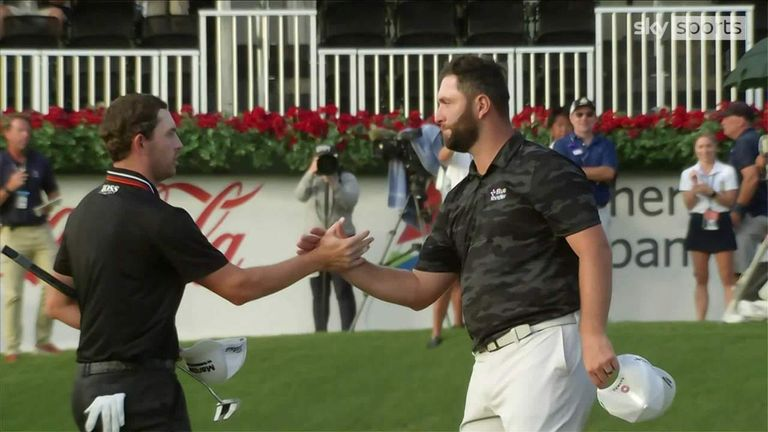 Highlights of the third round of the Tour Championship as Patrick Cantlay remained ahead of Jon Rahm at the top of the leaderboard