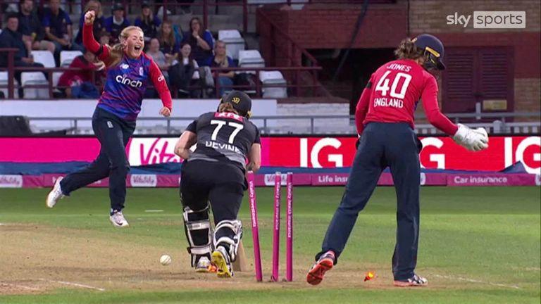 Sophie Ecclestone bowled New Zealand captain Sophie Devine for 35