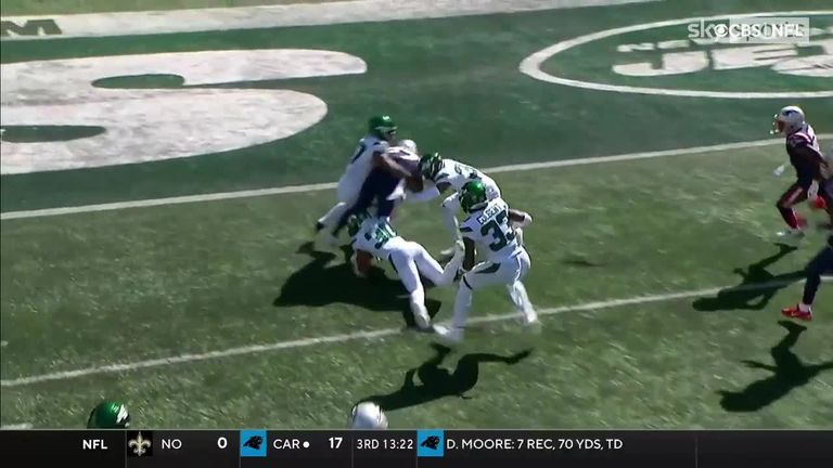 Damien Harris went through at least six New York Jets defenders to reach the endzone in an incredible display of strength