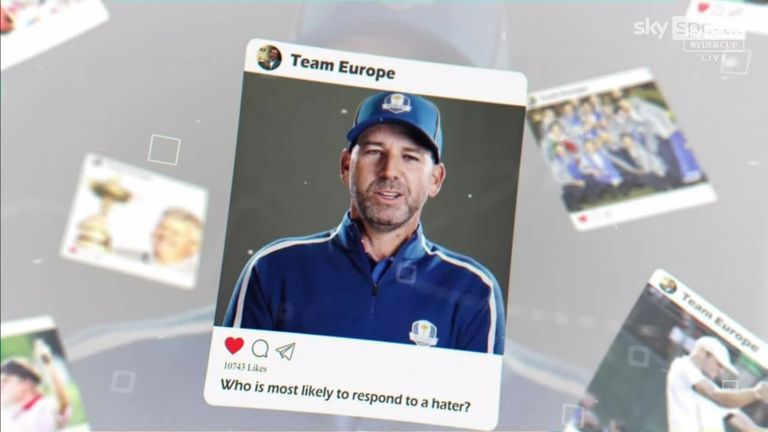 The European players continue their Ryder Cup tradition of answering a range of unusual questions about their team-mates. Who would respond on social media to a hater? Which player takes the most selfies