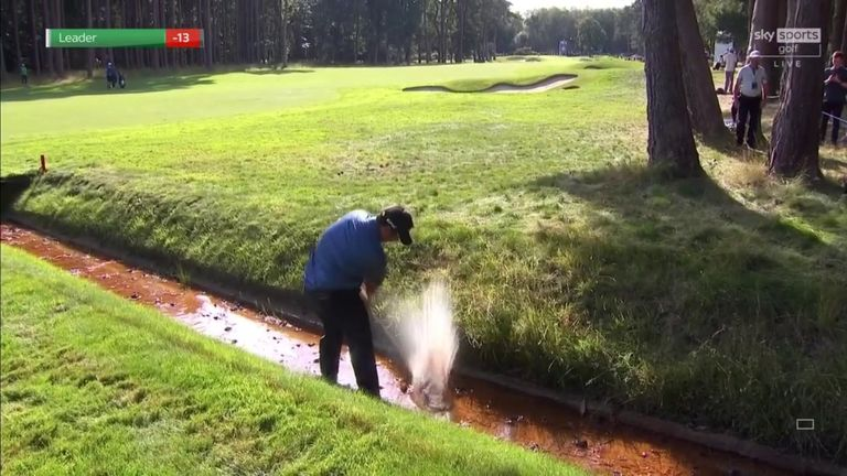 Kiradech Aphibarnrat was left drenched from playing a shot out of a wet and muddy bunker during the third round at the BMW PGA Championship!