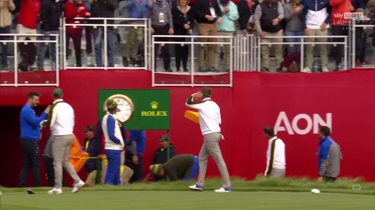 The European team arrived at the first tee wearing 'cheeseheads' - the nickname associated with Green Bay Packers fans - only for Ian Poulter to fail in his attempt to throw his foam hat into the crowd!
