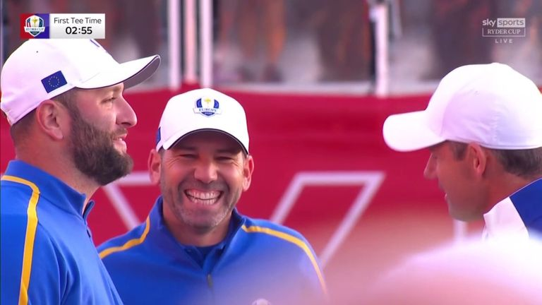 The noisy American crowd welcomed the European players with a chorus of booing as they arrived at the first tee for the opening day of the Ryder Cup.