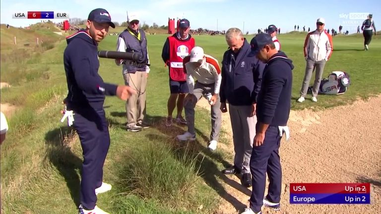 Brooks Koepka and Daniel Berger were left angered at a referee's decision not to give them free relief from near a bush during their foursomes match against Jon Rahm and Sergio Garcia.