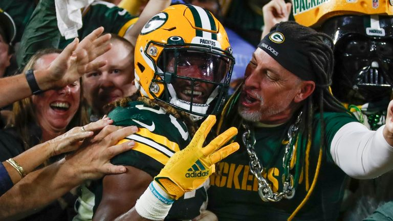 Green Bay Packers' Aaron Jones celebrates his touchdown run during the second half (AP)