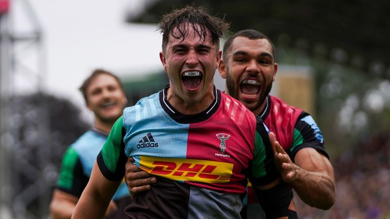 Harlequins' Cadan Murley celebrates after scoring a try in their win over Worcester