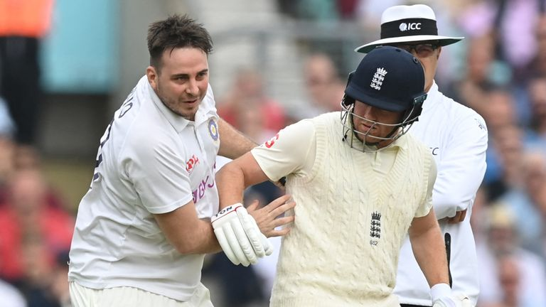 Pitch invader Daniel Jarvis ran into England's Jonny Bairstow on day two of the fourth Test at The Kia Oval