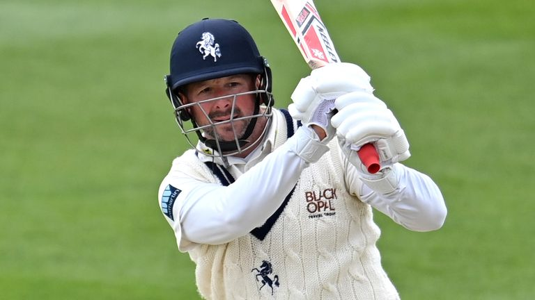 Darren Stevens continues to defy his his age as he smashed a quickfire hundred for Kent on day three against Leicestershire