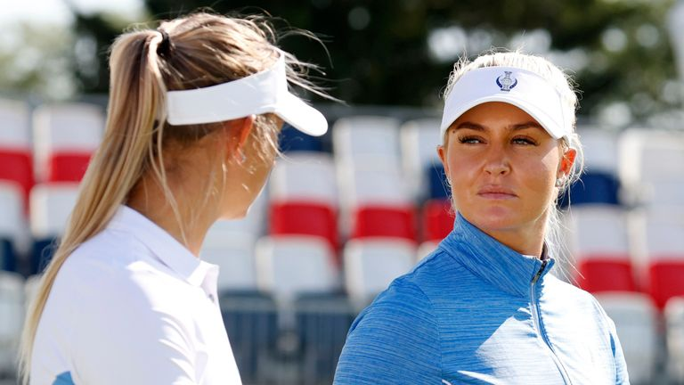 Charley Hull (right) made her fifth appearance in a row for Team Europe at this year's Solheim Cup