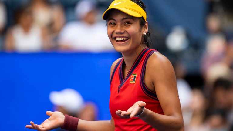 Emma Raducanu takes on 17th seed Maria Sakkari in the semi-finals of the US Open in just her second Grand Slam tournament